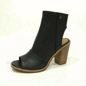 UGG Valencia Peep Toe Booties Black Heels Shoes 9